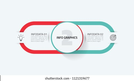 Vector infographic template. Business concept with 2 options, and marketing icons.