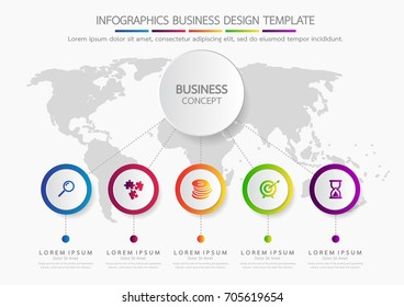 Vector infographic template business concept with options. Label circles for content, flowchart, diagram, steps, chart, workflow layout illustration,
