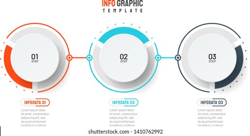 Vector infographic template. Business process with 3 steps, options, circles. Can be used for workflow diagram, annual report, presentation, web.