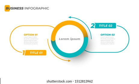Vector infographic template with circle and thin line label with number element. Business concept with 2 options. Can be used for diagram, flowchart, steps, parts, workflow, chart or presentation.