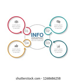 Vector infographic template for circular diagram, graph, presentation, chart, business concept with 4 options.