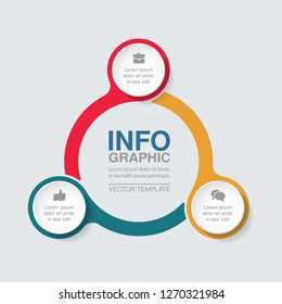 Vector infographic template for circular diagram, graph, presentation, chart, business concept with 3 options.