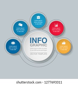Vector infographic template for circular diagram, graph, presentation, chart, business concept with 5 options.