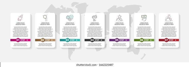 Vector infographic template. Data visualization with icons and arrows for 7 steps. Can be used for diagram, flowchart, banner, business report, flow chart or info graph