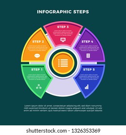 Vector infographic template for diagram, graph, presentation, chart, business concept with 5 options. Eps 10 vector illustration.