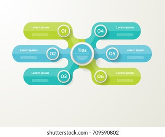 Vector infographic template for diagram, graph, presentation and chart. Business concept with 6 options, parts, steps or processes