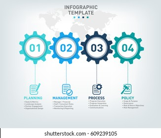 Vector infographic template with gears, icons and 4 options withing cogs and a world map background