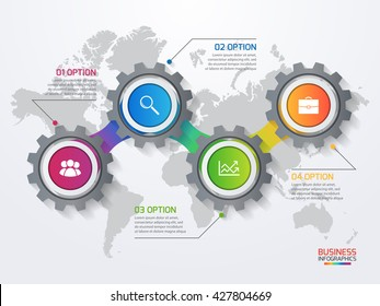 Vector infographic template with gears and world map. Business and industry concept with 4 options, parts, steps, processes.