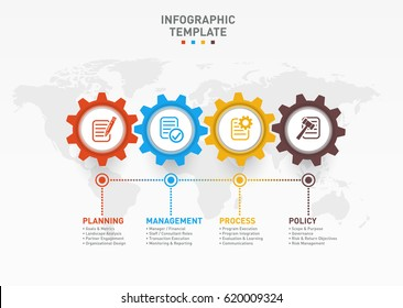 Vector infographic template with gears and world map. Business and industry concept with 4 options