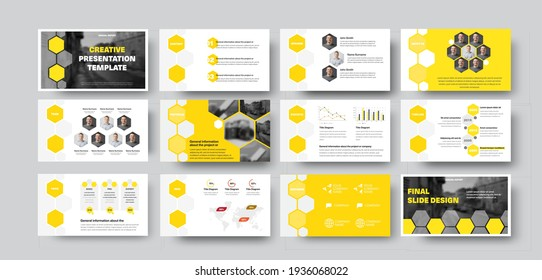 Vector infographic template with hexagons, photos, presentation slide with yellow design. Set of creative brochures for annual reports, data analytics, information documents.Corporate identity concept