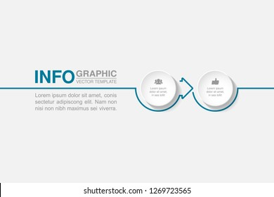 Vector infographic template for horizontal diagram, graph, presentation, chart, business concept with 2 options.