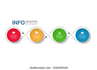 Vector infographic template for horizontal diagram, graph, presentation, chart, business concept with 4 options.