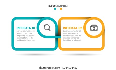 Vector infographic template with marketing icons. Timeline with 2 steps, options, box. Creative concept design for presentation.