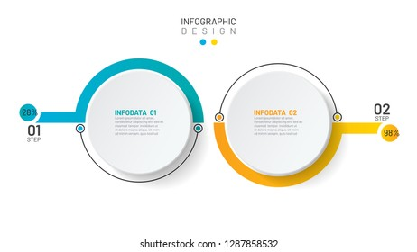 Vector Infographic template. Presentation layout design with 2 number options. Can be used for business process step, brochure, plan, report, grpah, info chart.