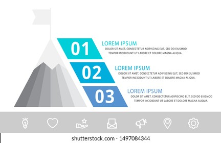 Vector infographic template with pyramid and mountain and three labels. Business geometric concept with 3 options. Used as timeline, workflow, presentation, diagram, flyers, banner, chart