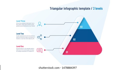 Vector infographic template in the shape of triangle, pyramid divided by 3 parts.