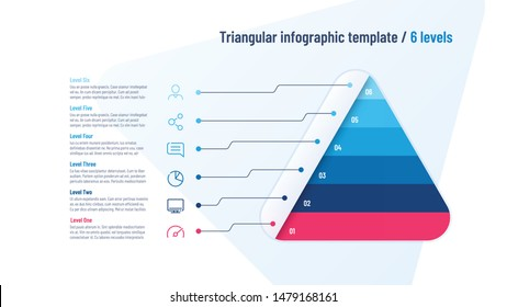 Vector infographic template in the shape of triangle, pyramid divided by 6 parts.