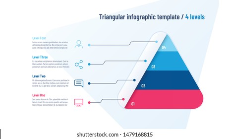 Vector infographic template in the shape of triangle, pyramid divided by 4 parts.