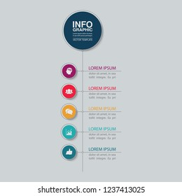 Vector infographic template for vertical diagram, graph, presentation, chart, business concept with 5 options.