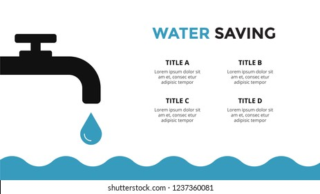 Vector infographic template. Water drop and ocean. Presentation slide template. Saving resources concept with 4 options, parts, steps, processes.