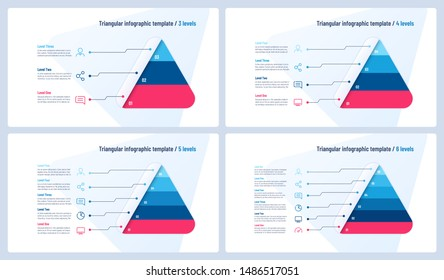 Vector infographic templates in the shape of triangle, pyramid.