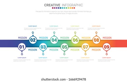 Vector Infographic thin colorful design with icons and 9 options or steps. fographic design template with place for your text. Vector illustration.