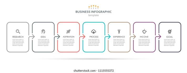 Vector Infographic thin line design with icons and 7 options or steps. Infographics for business concept. Can be used for presentations banner, workflow layout, process diagram, flow chart, info graph