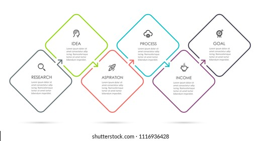 Vector Infographic thin line design with icons and 6 options or steps. Infographics for business concept. Can be used for presentations banner, workflow layout, process diagram, flow chart, info graph