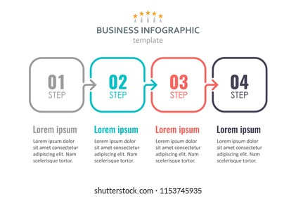 Vector Infographic thin line design with 4 options or steps. Infographics for business concept. Can be used for presentations banner, workflow layout, process diagram, flow chart, info graph