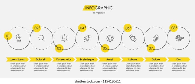 Vector Infographic thin line design with icons and 8 options or steps. Infographics for business concept. Can be used for presentations banner, workflow layout, process diagram, flow chart, info graph