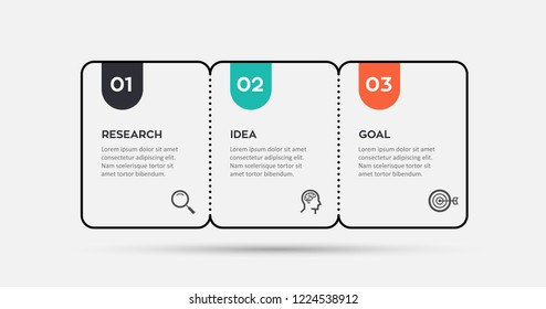 Vector Infographic thin line design with icons and 3 options or steps. Infographics for business concept. Can be used for presentations banner, workflow layout, process diagram, flow chart, info graph