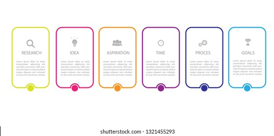 Vector Infographic thin line design with icons and 6 options or steps, Can be used for workflow layout, diagram, business step options, banner, web design. Vector illustration