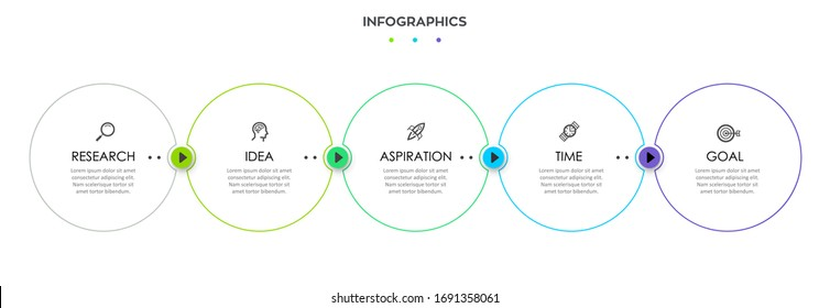 Vector Infographic thin line design with icons and 5 options or steps. Infographics for business concept.