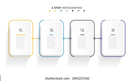 Vector infographic thin line template. Business concept design with icons and 4 options or steps.