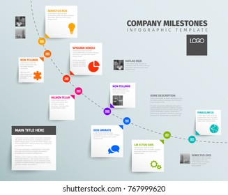 Vector Infographic time report template with diagonal timeline, icons and simple content boxes