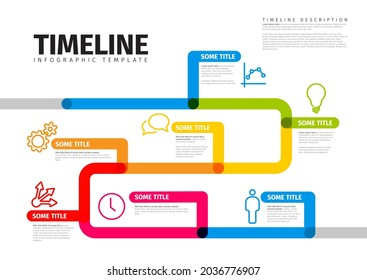 Vector Infographic timeline report template with thick lines and icons. Color infochart template for time line history path with various milestones