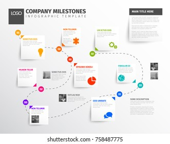Vector Infographic timeline report template with icons and simple content boxes