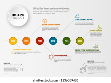 Vector Infographic timeline template with horizontal line and various description