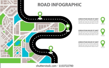 Vector Infographic with a tortuous road from a Perspective city map with markers, pin in a map