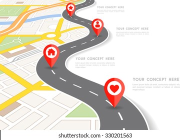 Vector Infographic with a tortuous road separating blank space from a perspective city map with red markers and rounded icons.