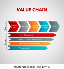 vector infographic with value chain model including primary and support activities like logistics, operations, marketing and sales, services, firm infrastructure, human resource, procurement
