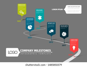 Vector Infographic vertical curved timeline report template with icons and descriptions - dark version