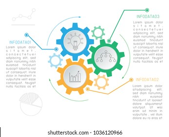 Vector Infographics with 3 steps, cogs, arrow. Vector linear element.