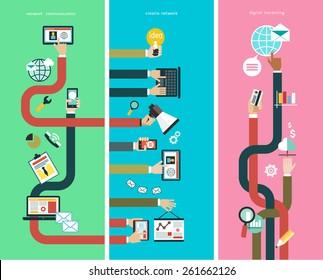 Vector. Infographics background social media network. Concept Internet comunications. Digital marketing. Creativ network. Network comunications.