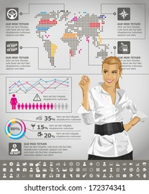 Vector infographics with business woman, earth map and web icons, and elements usefull for any visualisations
