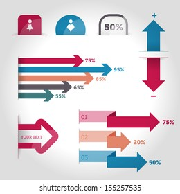 Vector Infographics design elements. Survey and research results. Graphs. Arrow graphs.