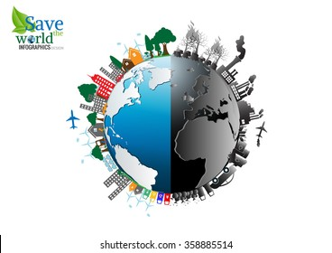 Vector Infographics design with environment two-side comparisonside nature global warming Illegal pollution Destroying Environment and side eco friendly, energy, environment.