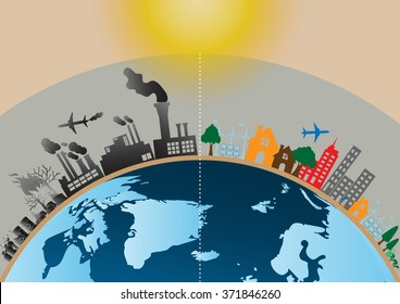 Vector Infographics design with environment two-side comparison site nature global warming Illegal pollution destroying environment with broken ozone layer and side eco friendly, energy, environment.