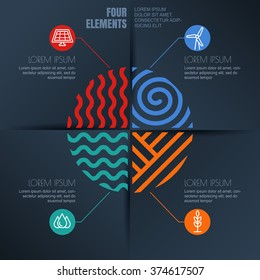Vector infographics design. Four elements abstract illustration and alternative energy icons on black background. Template for business, brochure, presentation, environmental and ecology themes.