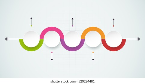 Vector infographics design template with 3D paper label, integrated circles background. Blank space for content, business, infographic, diagram, digital network, flowchart, process diagram.